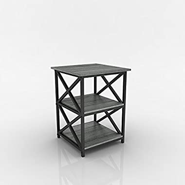 Weathered Grey Oak Finish Metal X-Design Chair Side End Table with 3-tier Shelf