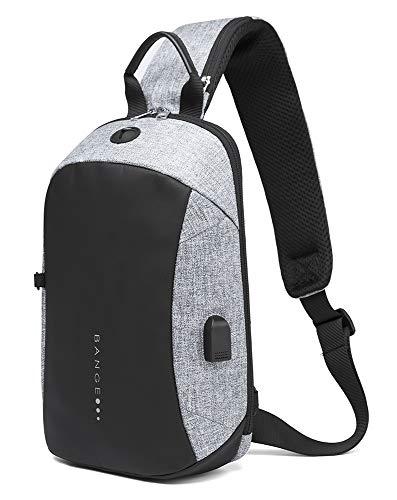 [FONOSYU] ボディバッグ ショルダーバッグ ワンショルダー 旅行カバン メンズ レディース 斜め掛け USB付 2色 軽量 防水 通勤 通学 旅行 アウトドア 男女兼用 胸バッグ iPad収納可 カバン