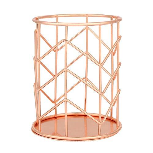 Fltaheroo Portalápices de maquillaje, soporte de alambre de hierro para lápices, accesorios de escritorio, oro rosa