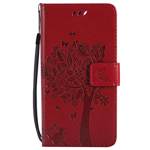 Yheng Samsung Galaxy J1 Coque, Gaufrage Chat et Arbre Étui Portefeuille en Cuir pour Galaxy J1 à Rabat Coque avec Fermeture Aimantée Porte-Cartes Stand Pliant Livre Housse de Protection,Rouge