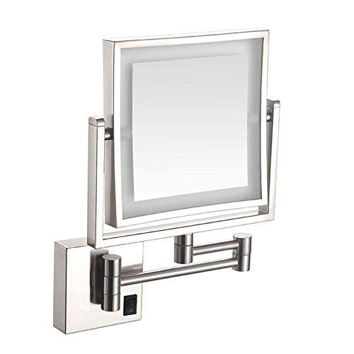 HGXC Espejo de Maquillaje de Montaje en Pared con Aumento de 3 aumentos, Espejo de tocador Giratorio de Doble Cara para baño, Brazo Extensible