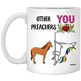 N\A Funny Best Preacher Unicorn Congrats - Taza de café Blanca de 11 oz