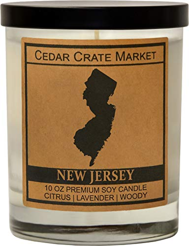 New Jersey Kraft Label Scented Soy Candle, Citrus, Lavender, Woody, 10 Oz. Glass Jar Candle, Made in The USA, Decorative Candles, Going Away Gifts for Friends, State Candles