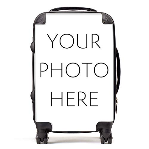 Personalised Cabin Suitcase | Personalise Your Carry-On Luggage with Customised Photo or Design | TSA Lock 4 Spinner Wheels Portable Bag 58cm 52Ltr