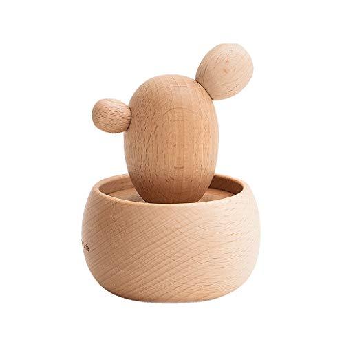Caja de música giratoria con forma de cactus de madera para decoración de doble uso, regalo de cumpleaños, para niños y niñas, caja de música multifuncional (color: música: 'Spirited Away')