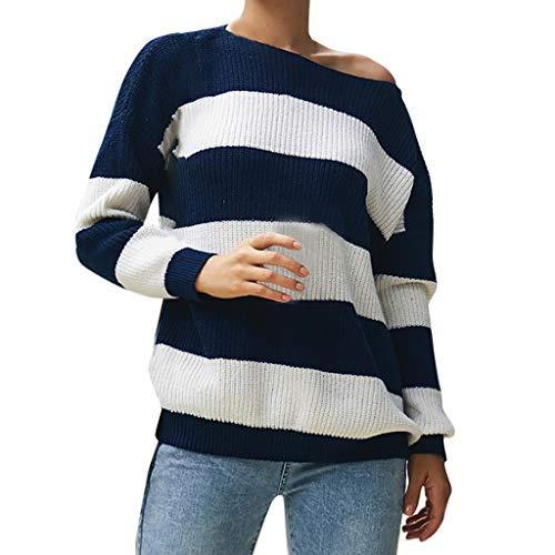 Rovnkk - Camiseta de manga larga para mujer, diseño de rayas azul L