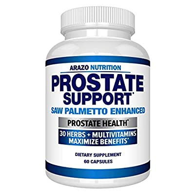 Prostate Supplement - Saw Palmetto + 30 Herbs - Reduce Frequent Urination, Remedy Hair Loss, Stamina ? Single Homeopathic Herbal Extract Health Supplements - Capsule or Pill - Arazo Nutrition