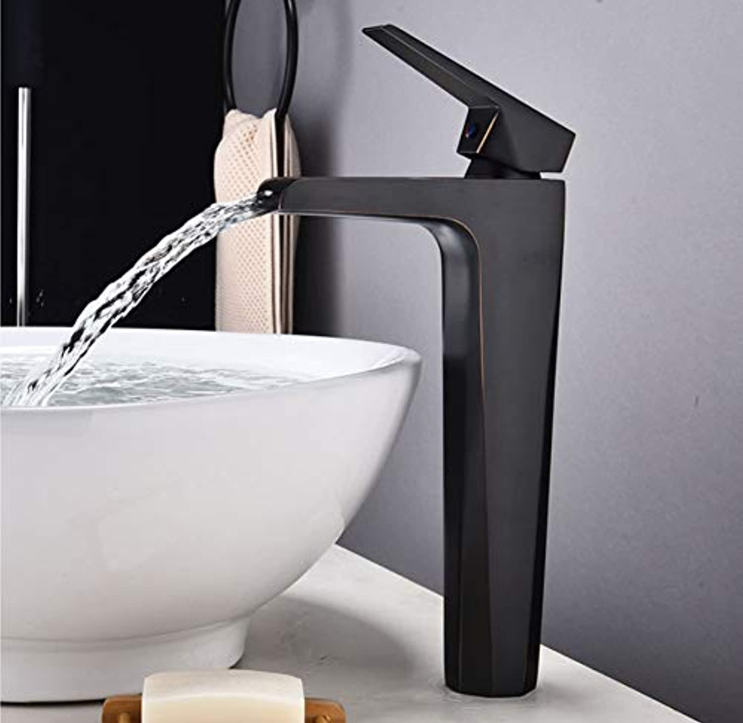 Xiehao Contemporary Basin Faucet for Bathroom Black Chrome Solid Brass Basin Mixer Taps Waterfall Cold Hot Bathroom Sink Faucet