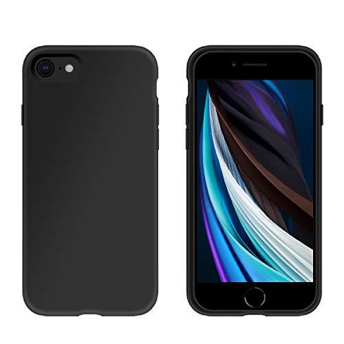 PETERONG Funda de Silicona Líquida para iPhone SE 2020, Carcasa Protección de Cuerpo Completo Carcasa Antichoque Anti-Rasguño para iPhone 7 / iPhone 8 / iPhone SE (2020) 4.7 Pulgadas (Negro)