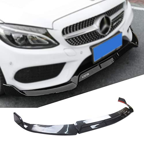Front Bumper Lip for 2019-2020 Mercedes Benz W205 C-Class Accessories Body Kit Carbon Fiber Coating ABS Standard Trim Spoiler Splitter YOUNGERCAR