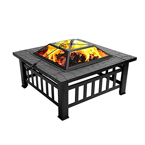 COFFEE CAT Outdoor Fire Pit, 32-inch Outdoor Square Metal Fire Pit Outdoor Wood Burning with Accessories Firepit Backyard Patio Garden(Black)