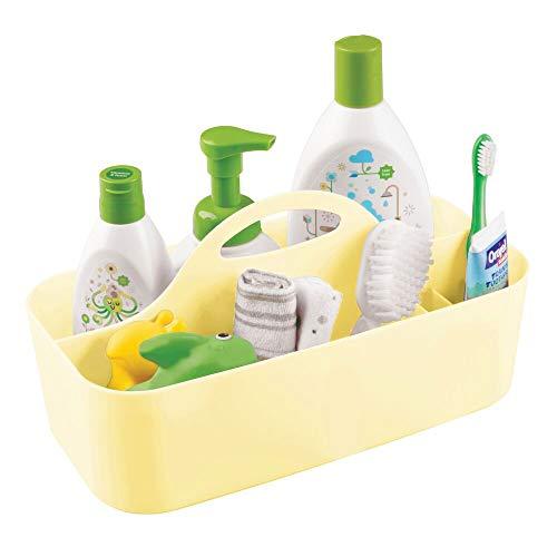 mDesign Caja con asa para bebé con 6 Compartimentos – Caja organizadora portátil de plástico – Cesta de almacenaje para pomadas, toallitas húmedas, pañales, chupetes, etc. – Amarillo Claro