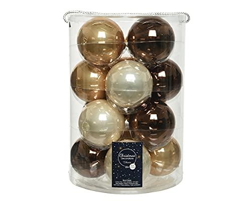 Decoris Bolas de Navidad de cristal, 8 cm, 16 unidades, color marrón