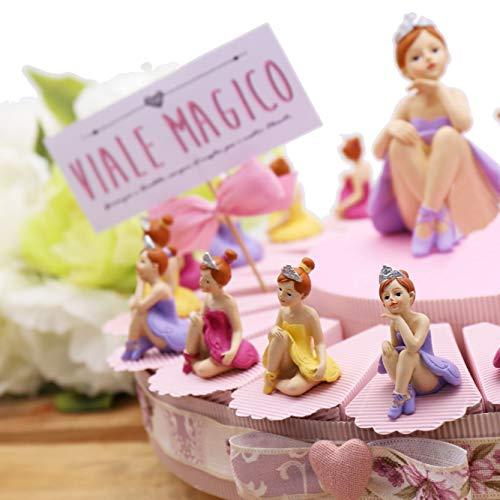 VialeMagico Torta Bomboniere Prima Comunione Bimba Danza Ballerina Princess Statuina 20 fettine