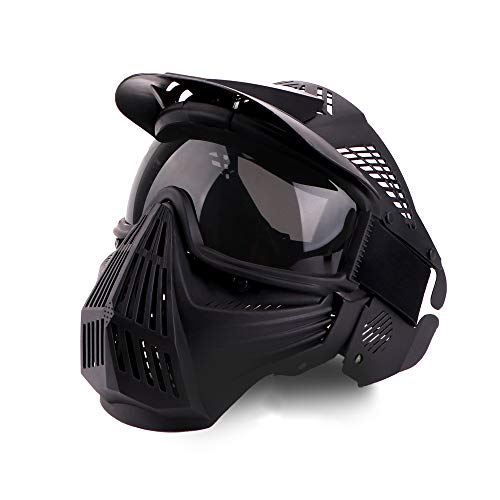 Paintball Maske, Airsoft-Maske Vollgesicht mit Schutzbrille Schlagfest für Airsoft Paintball Hunting CS-Spiel und andere Outdoor-Aktivitäten - Gray Lens