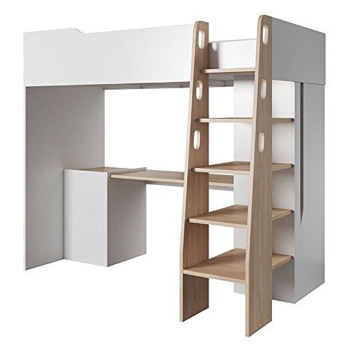 *Kinderbett/Hochbett – Kombination mit Schreibtisch und Schrank Monastir 06, Farbe: Eiche/Weiß matt – 90 x 200 cm (B x L)*