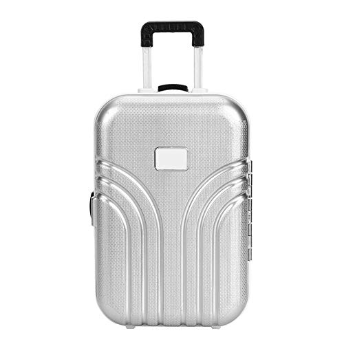 HelloCreate Baby Suitcase Toy Cute Plastic Rolling Suitcase Mini Luggage Box (Silver)