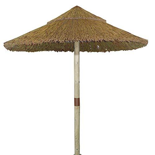 Parasol para jardín de Madera y caña, Mástil Central, Redondo 200 cm