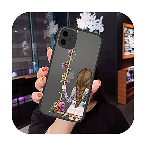 Las niñas Bff Best Friends Forever caso del teléfono para el iphone 12 11 8 7 plus mini x xs xr pro max mate transparente cubierta-a7-Para iPhone X XS