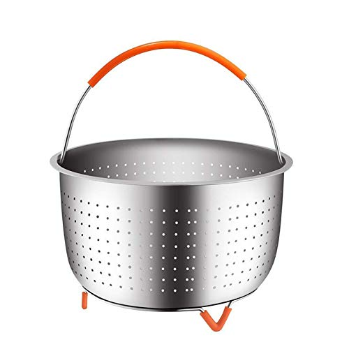 Flatware Steamer Basket For Instant Pot Stainless Steel With Covered Handle 3Qt 6Qt 8Qt For Kitchen Cook Woman (Color : Orange, Size : 6Qt)