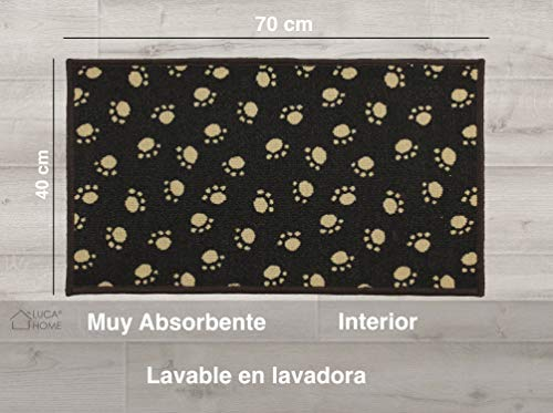 LucaHome - Felpudo para Mascotas Antideslizante Muy Absorbente, Felpudo Huellas Perro 40x70cm Moqueta, Felpudo para Interior