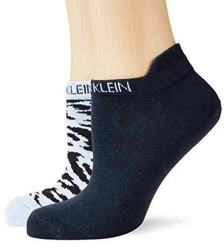 Calvin Klein Socks Womens Liner 2p Leopard Back tab Socks, Denim Combo, ONE SIZE