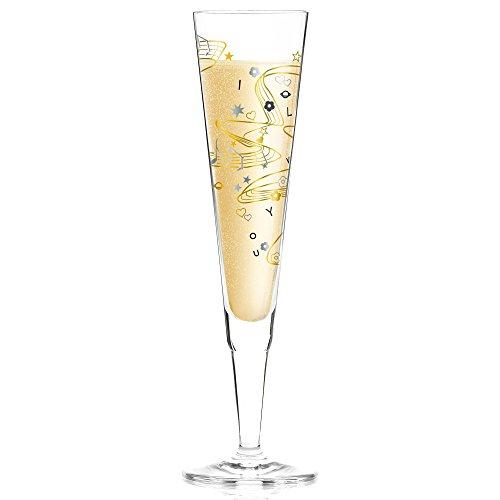 RITZENHOFF Champus Champagnerglas von Willian Farias, aus Kristallglas, 200 ml, mit edlen Gold- und Platinanteilen, inkl. Stoffserviette