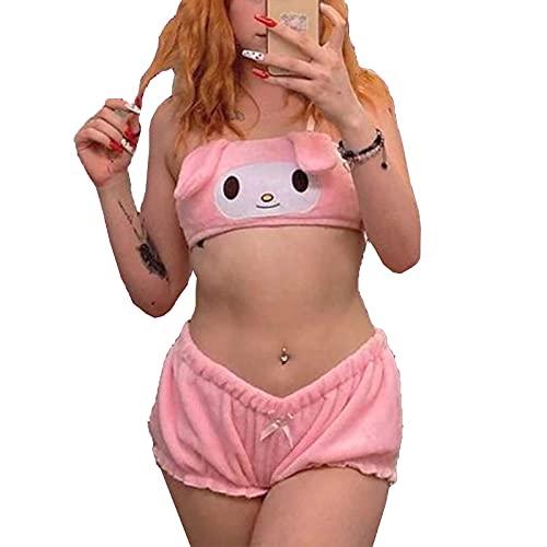 Kawaii Anime - Conjunto de pijama de terciopelo para mujer, conjunto de 2 piezas, traje de noche Melody Kuromi Velvet Rosa Conejo B XL