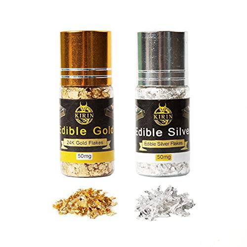Copos comestibles de oro de 24 quilates y copos de