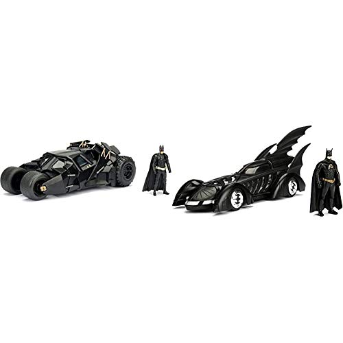 Jada Toys DC Comics 2008 The Dark Knight Batmobile with Batman Figure & DC Comics Batman Forever Batmobile & Batman Figure 1:24 Die - Cast Vehicle with Figure