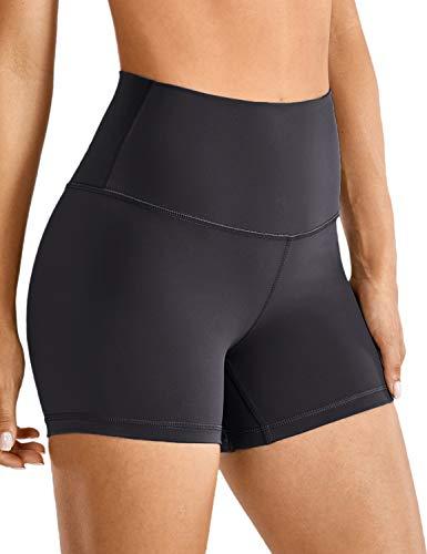 CRZ YOGA Damen Fitness Shorts Nahtlose Hohe Taille Yoga Boxershorts-10cm Schwarz 36