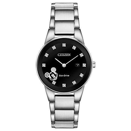 Citizen Eco-Drive - Reloj de cuarzo para mujer, acero inoxidable, Mickey Mouse, tono plateado (modelo: GA1051-58W)