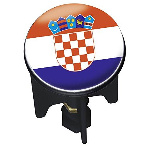 WENKO WASCHBECKEN STÖPSEL PLUGGY FUßBALL WM Kroatien CROACIA ABFLUSS-STOPFEN, MESSING, KUNSTSTOFF, DURCHMESSER 3.9X6.5 - 9.5 CM
