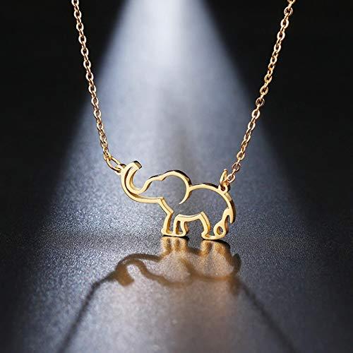 N/A Collar Colgante Collar de Acero Inoxidable para Mujer, Collares con Colgante de Elefante de Origami para Amantes, joyería para Mujer, Collares de Moda Regalos de Fiesta de cumpleaños de Navidad
