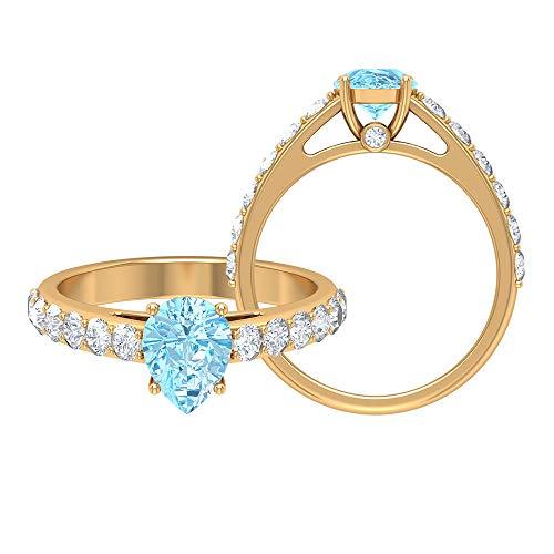 1.75 CT aguamarina solitario anillo con piedra lateral moissanita, anillos de compromiso para mujeres (8x6 mm corte pera aguamarina), 14K Oro