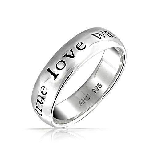 Bling Jewelry Mantra Sentimentale Worte Wahre Liebe Wartet Reinheit Versprechen Ringe Band Für Jugendlich 925 Sterling Silber