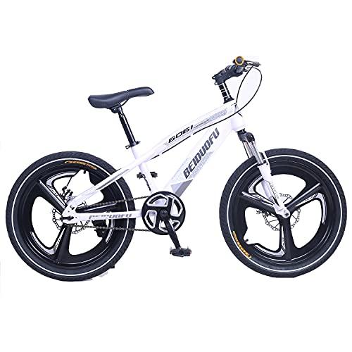 Bicicleta de montaña infantil de 20 pulgadas, rueda integrada de aleación de magnesio, bicicleta BMX, freno delantero y trasero, horquilla delantera con amortiguador de golpes, color blanco