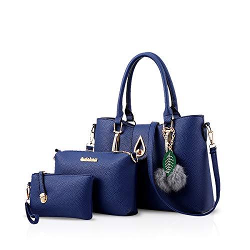 NICOLE&DORIS 3 PCS Tasche Handtasche Schulter Frauen Crossbody Totes Bote Weich PU Blau