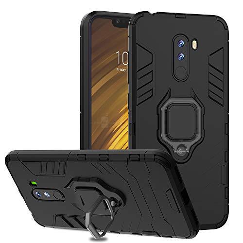 Ferilinso Hülle für Xiaomi Pocophone F1, stilvolle Hybrid robuste Rüstung Dual Layer Heavy Duty Harte PC zurück Fall mit Ring Grip Kickstand und Unterstützung magnetische Auto-Mount (Schwarz)