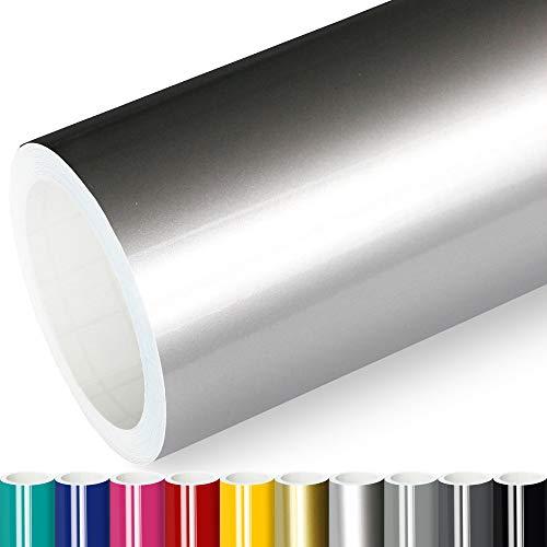 Actinium® Klebefolie 10€/m² Silber Glanz | 5m x 0,31m selbstklebende Folie glänzend | Möbelfolie selbstklebend Küchenfolie Plotterfolie