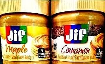 Jif Flavored Spreads VARIETY 4 Pack + FREE 24 Pack of Heavy Duty Spoons, 2 Jars of CINNAMON PEANUT BUTTER, 2 Jars of MAPLE PEANUT BUTTER. 12 oz Jars