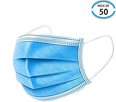 (50 Pieces) Dust Protection, Disposable Face No Breathing Valve, FDA certific, Thick 3Ply