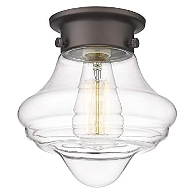 Flush Mount Ceiling Light Glass Shade - HWH Industrial Close to Ceiling Lighting Fixture 8'', for Kitchen, Bedroom, Foyer, Dinning Room, Hallway, Oil-Rubbed Bronze Finish, 5HZG11-F ORB
