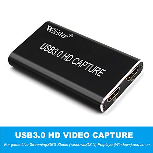 Wiistar HDMI to USB 3.0 Video Capture USB C Video Card with HDMI Loop Out, Broadcast Live Stream and Record, Full HD 1080P Live Streaming Video Game Grabber Converter