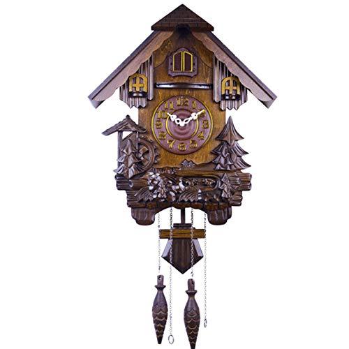 BCBKD Reloj De Cuco De Madera, Reloj De Cuco Alemán De La Selva Negra Reloj De Pared Decorativo De Madera con Función De Péndulo Y Eco Despertador Diario Antiguo De Madera Maciza, 82X41,5X17cm