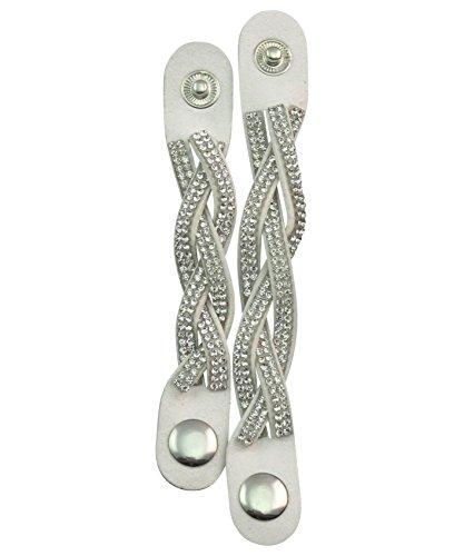 2er Set Schalband, Schmuckband, Schalhalter, Schalclip weiß geflochten