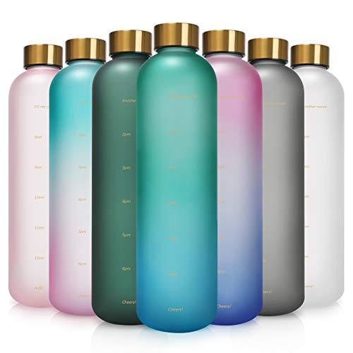 Opard Trinkflasche, 1L Wasserflasche, Auslaufsichere Water Bottle, BPA Frei Sportflasche Zeitmarkierung Wasser Flasche (Cyan Aqua)