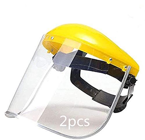 01 Gesichtsschutz, Gesichtsschutz, transparentes Visier, Sicherheitshelm, hohe Temperaturbeständigkeit, winddicht, Strahlung, für Outdoor, Küche, Garten, Architektur, Gelb (2 Stück)
