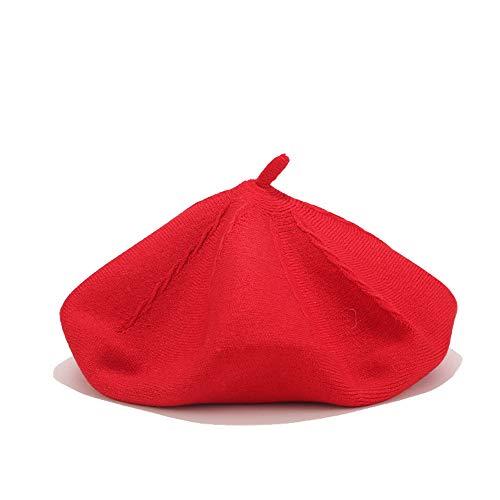 LMJ Outsider Bailey Hut, Damen Herbst und Winter Neue Doppel-Wolle Stricken Maler Hüte koreanische Version der Wilden japanischen Kürbishut rot