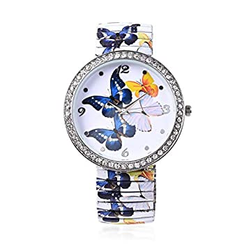 Shop LC STRADA White Austrian Crystal Japanese Movement Water Resistant Bracelet Watch in Blue White Yellow Butterfly Pattern Stainless Steel Wrist Bridesmaids Jewellery Gifts Fashion Analog Digital Classic Waterproof Timer